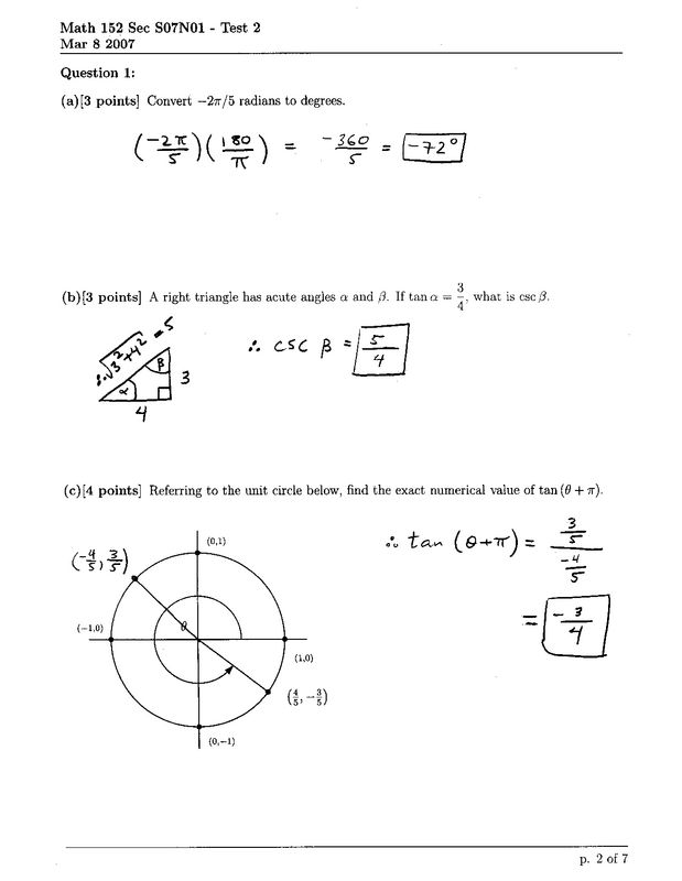 Math 152 Sec S07N01 Test 2 Solutions