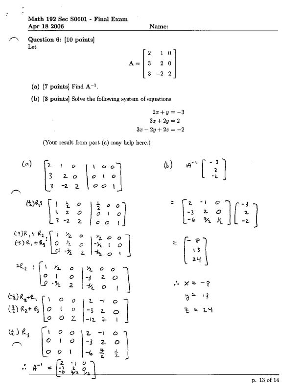 math final exam 216 mhr • practice final exam 978-0-07-012733-3 mathematics 10 practice final exam for each multiple choice question, identify the correct letter.